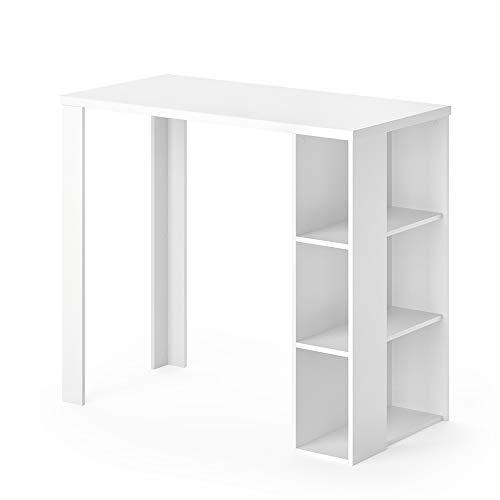 Vicco Bartisch Noel Tresentisch Weiß Ablagefächer 120 x 105,6 x 60 cm wahlweise mit Barhocker (ohne Barhocker)