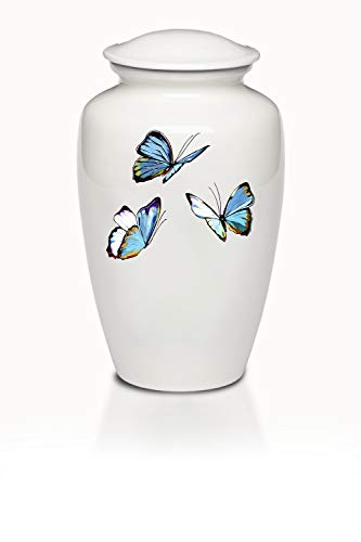 Affordable Butterfly Adult Cremation Urn for Human Ashes - White Alloy Cremation Urn with Blue Butterfly Design - Adult Size - White - 220 cu. in.