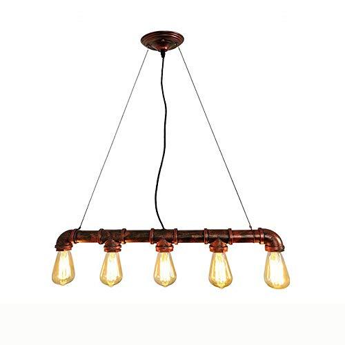 Lámpara colgante de techo de hierro retro de 5 cabezas con tubo de agua,lámpara de suspensión colgante de metal industrial con base de lámpara E27,lámpara de altura ajustable para restaurante