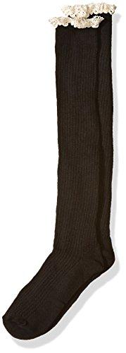 Jefferies Socks Große Kniestrümpfe für Mädchen mit Spitze & Knöpfen - Schwarz - Small