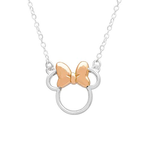 """Disney Minnie Mouse Sterling Silver Silhouette Pendant Necklace, 18"""" chain,"""