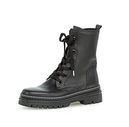 Gabor Damen Combat Boots, Frauen Stiefeletten,Wechselfußbett,Best Fitting,Stiefel,Bootee,Booties,halbstiefel,schwarz (Weiss),39 EU / 6 UK
