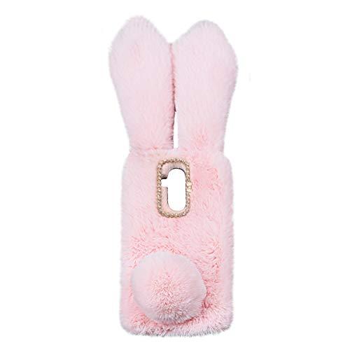 Mikikit Lindo Funda Relleno Peluche para Huawei Mate 20 Lite, Rosado Fuzzy Piel Conejo Cover para Niñas, Furry Acogedor Pelo Estuche de Felpa Suave Cubierta Protectora esponjosa para Mate 20 Lite
