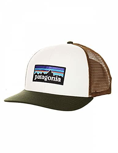 Patagonia, P-6 Logo Trucker Hat, Cappellino, Bianco W/Kelp Foresta