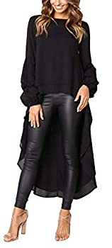 Jyccr Women Casual Long Sleve High Low Hem Tunic Top Ladies Fishtail Blouses for Work Black 2XL
