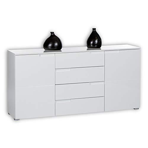 SPICE Sideboard in Hochglanz Weiß - Moderne Kommode mit viel Stauraum für Ihren Wohnbereich - 165 x 80 x 40 cm (B/H/T)