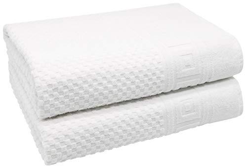 ZOLLNER 2er Set Badetücher mit Waffelmuster, 100% Baumwolle, 100x150 cm, weiß