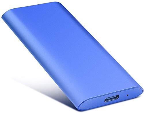 Disco duro externo portátil de 2 TB, disco duro externo portátil, ultrafino, tipo C, para Mac, PC, ordenador portátil (2 TB, azul)