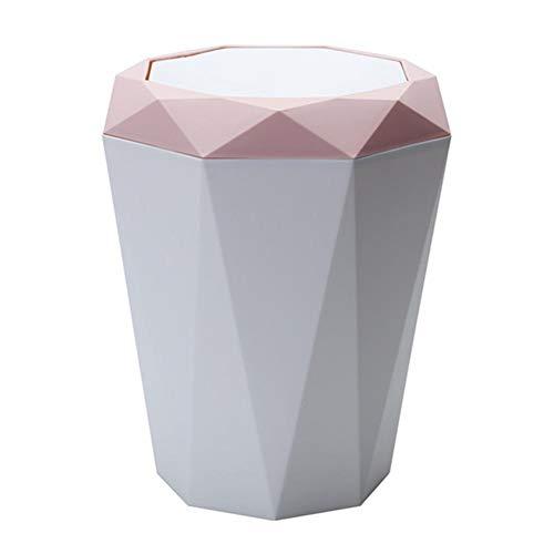 Kentop - Papelera con tapa basculante para mesa/oficina o escritorio, diseño geométrico, rosa, 28.6*25cm