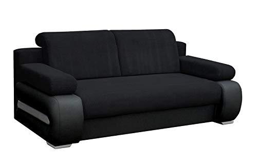 Canapé convertible 3 places Noir Tissu Confort