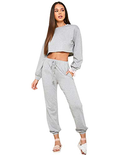 SweatyRocks Women's 2 Pieces Outfits Cropped Sweatshirt and Pants Tracksuits Set Sportwear Light Grey 1 L