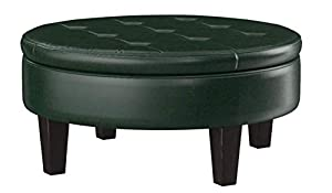 Set includes: One (1) ottoman Materials: Vinyl and wood Fabric Color: Dark Brown Finish Color: Brown Assembly Required: Yes Easy-to-lift top with hidden storage Frame construction: Solid wood legs and button-tuft seating Upholstery type: Leatherette ...