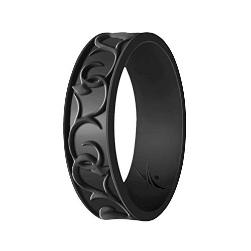 ROQ Silicone Wedding Ring for Women - Ornament Silicone Rubber Wedding Band - Black Colors - Size 5