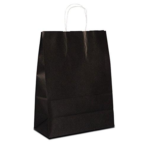 300 x Papiertüten schwarz 18+08x22 cm | stabile Papiebeutel farbig | Papiertragetaschen Kordelhenkel | Kraftpapiertüten klein | HUTNER