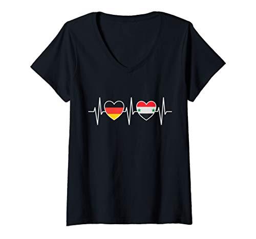 Damen Deutschland und Syrien Germany Syria Flaggen Fahnen T-Shirt mit V-Ausschnitt