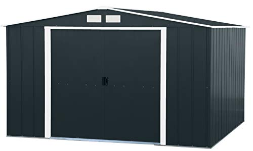 Duramax ECO 10' x 10' Hot-Dipped Galvanized Metal Garden Shed - Anthracite with Off-White Trimmings - 15 Years Warranty