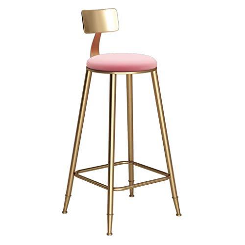 Barkruk hoge stoel barkruk van ijzer met rugleuning barkruk in Scandinavische stijl ontbijtkruk velvet roze gestoffeerde stoel, voor keuken, restaurant, café, bar (kleur en grootte optioneel) restaurant
