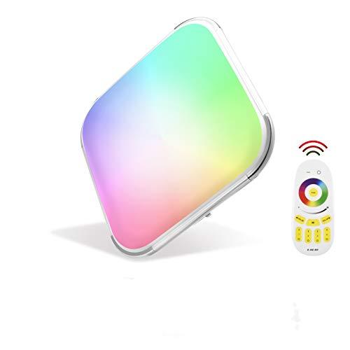 Papasbox Lámpara LED de techo con panel de cambio de color, 48 W, RGB, regulable, 2700-6500 K, con mando a distancia, IP44, cuadrada, plana, para dormitorio, salón, cocina, habitación infantil