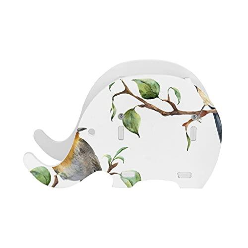 Patrón de Acuarela con Ramas de árboles y pájaros Mano Spring Robin Redbreasts Hojas Florales Elefante Soporte para bolígrafo Suministros de Escritorio Organizador Accesorios de Oficina multifunc