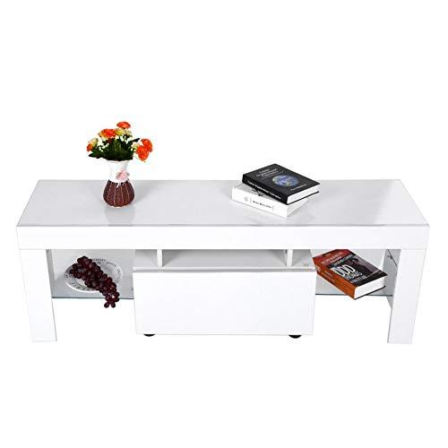 Estink Tv-kast, hedendaagse tv-unit met kasten, tv-kast, lowboard met RGBW LED dressoir, mediaboard onderkast, televisietafel, wit, 51,18 x 13,78 x 17,72 inch