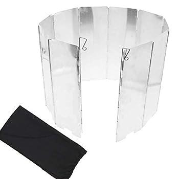Dawa Pare-vent pliable en aluminium pour réchaud de camping avec 10 plaques avec sac de rangement