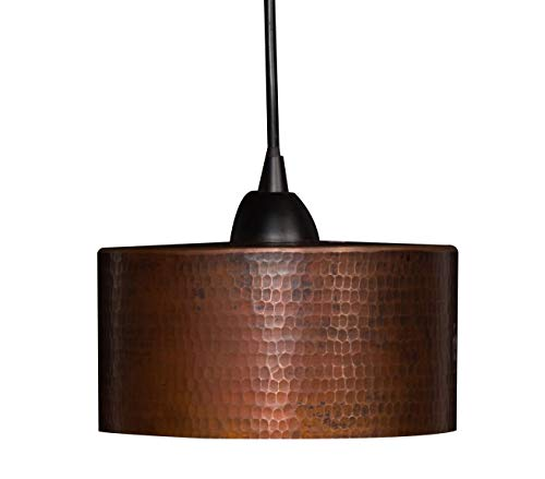 """Premier Copper Products Hand Hammered Copper 8"""" Round Cylinder Pendant Light"""
