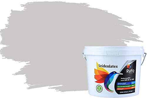 RyFo Colors Seidenlatex Trend Grautöne Hellgrau 3l - bunte Innenfarbe, weitere Grau Farbtöne und Größen erhältlich, Deckkraft Klasse 1