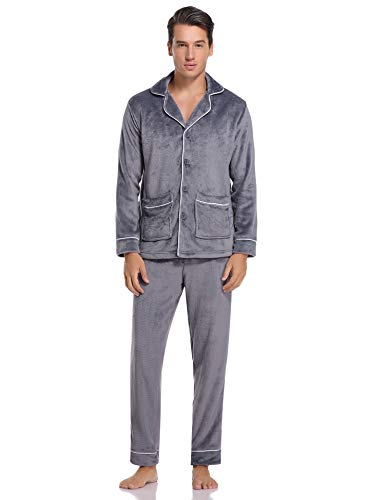 Hawiton Pijamas Hombre Invierno Mangas Larga de Polar Franela Conjunto de Pijama para Hombre Pantalones Largo
