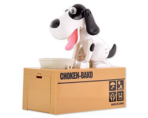 DSstyles Hungry Dog Piggy Bank Geld sparen Box Essen Coin Munching Spielzeug, Kinder (Weiß und Braun) (Braun und Schwarz)