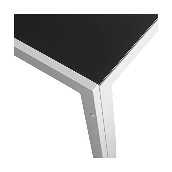 Wohaga Gartentisch 'London', 150x90cm, Stahlrahmen Silbergrau, Tischglasplatte schwarz undurchsichtig