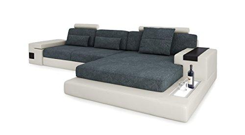 Bullhoff by Giovanni Capellini Design Sofa Couch Leder Wohnlandschaft + Stoff Ecksofa L-Form mit LED-Licht Beleuchtung Hamburg III
