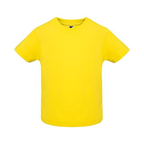 Camiseta de Colores con Manga Corta para Bebés - Prenda de algodón 100%, cómoda, Suave, cálida y Tacto Agradable (Amarillo, 18 Meses)