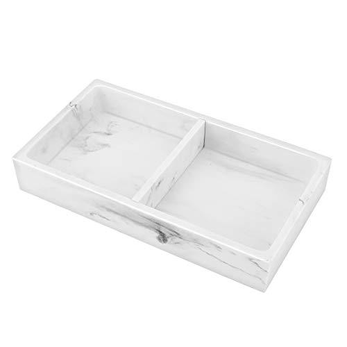 Emibele Harz Tablett, Zwei Fächer Schmuck Waschbecken Aufbewahrungsbox mit Abnehmbarem Teiler Sandmuster Schmuckaufbewahrung Decorative Waschtisch Tablett für Badzimmer Küche - Kies weiß