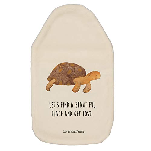 Mr. & Mrs. Panda Kinderwärmflasche, Körnerkissen, Wärmflasche Schildkröte marschiert mit Spruch - Farbe Weiß