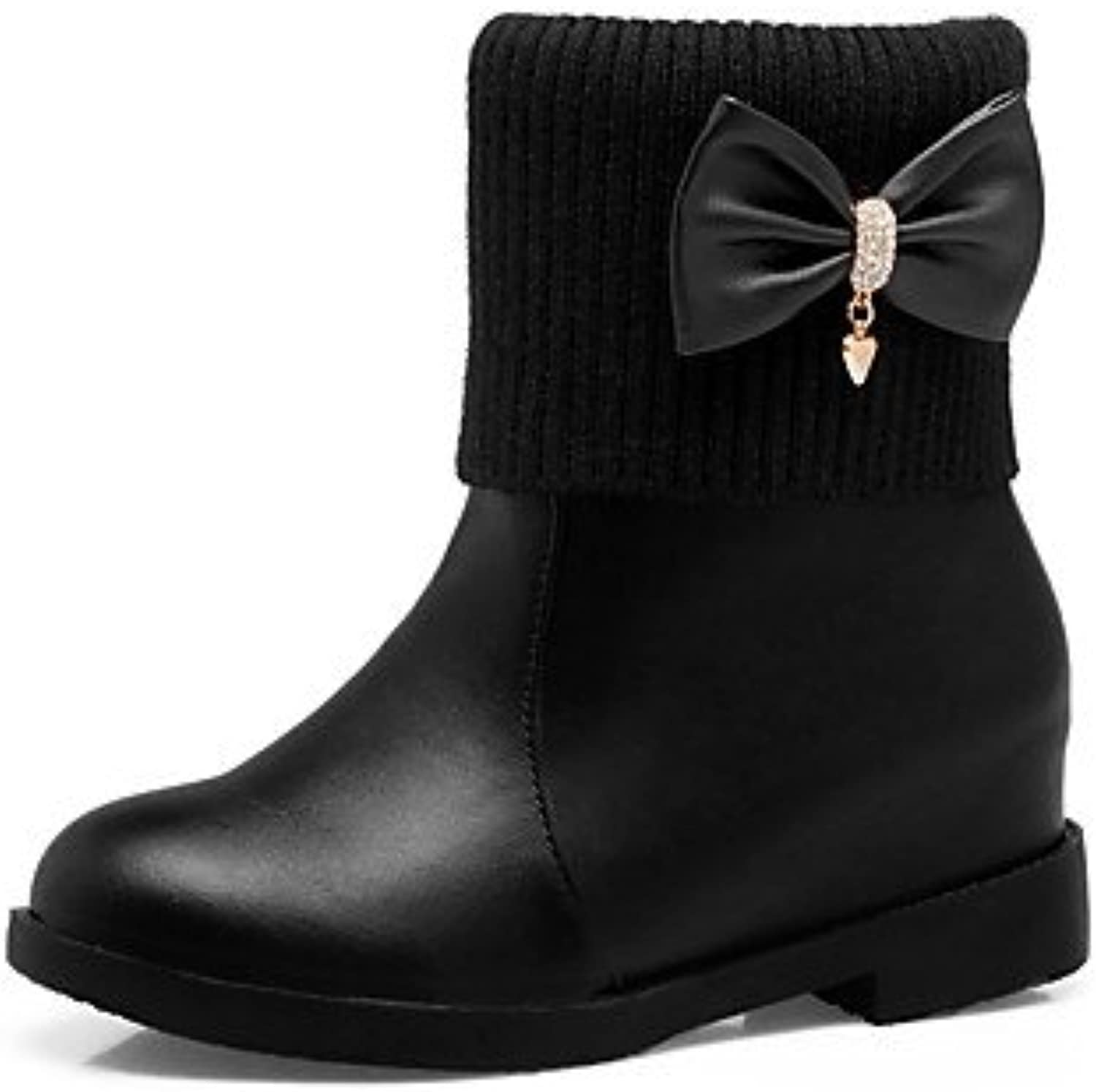 Women shoes Leatherette Fall Winter Snow Fashion Low Heel Chunky Heel Round Toe Booties Ankle Rhinestone Bowknot