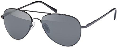 FEINZWIRN - Gafas de sol de piloto para caras delgadas y estrechas (incluye bolsa de gafas), Unisex adulto, negro, talla única
