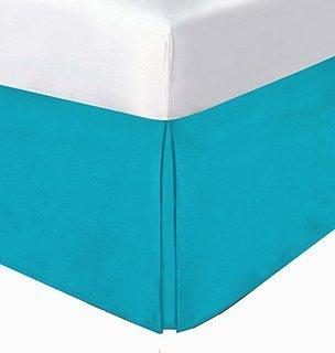 LaxLinens 250 fils/cm²-Finition élégante 1 jupe plissée chute de lit Longueur : 15 cm UK Seule une petite taille, Bleu Turquoise 100% coton Bleu sarcelle