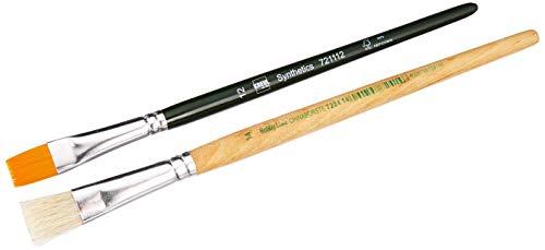 Kreul 722000 - Pinsel für Serviettentechnik, Borstenpinsel flach Größe 14 und Synthetics Flachpinsel Größe 12