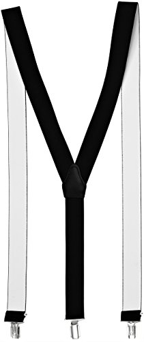 Sencillo Damen Hosenträger mit schonenden Clips Y-Form, Schwarz, 120 cm lang und 3,5 cm breit