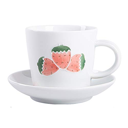 Taza de té y taza de café seguras Juego de taza de café, taza de té lindo creativo, taza de té de cerámica, patrón de fruta, simple calidad retro simple, conveniente for tomar café 8.88oz Regalos de t
