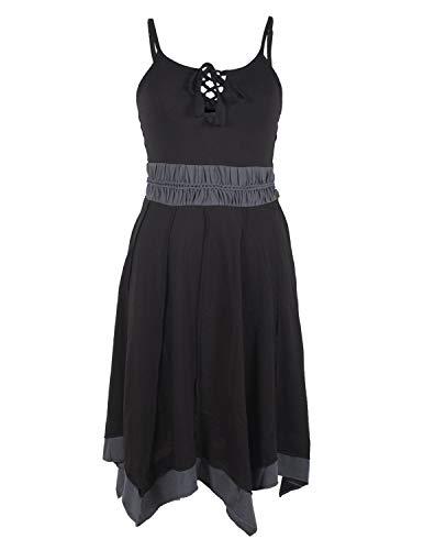 Vishes - Alternative Bekleidung - Zweifarbiges Patchwork Trägerkleid aus Bio-Baumwolle mit Zipfeln schwarz 36