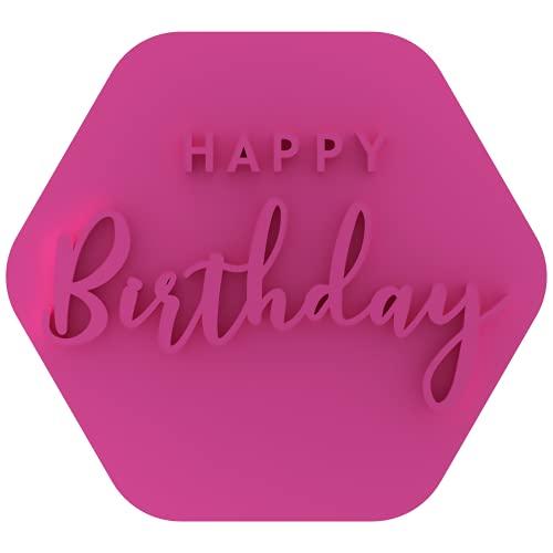 LissieLou Happy Birthday in Two Schrift Keksstempel Geburtstag Feiern Zuckerguss Stempel Fondant Prägung - Hellrosa