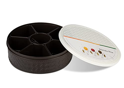 Shanika - Caja de especias indias de plástico de grado alimenticio, con compartimentos, Namak Dani con 7 recipientes/olla, cuchara y tapa hermética, caja de especias de 24 x 7 cm