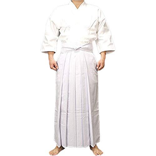 - Uniformes Ropa Tradicional Espadachín Japonés, Karate Ninja De Aikido De La Calidad De Los Hombres Traje De Entrenamiento Traje De Falda Chaqueta De Kendo Camisa Blanca De Algodón,Blanco,OneSize