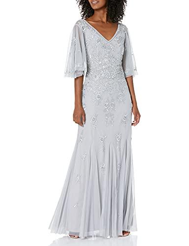 Adrianna Papell Damen Beaded Wide Sleeve Gown Formales Abendkleid, Brautschmuck Silber, 36