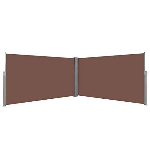 Festnight- Ausziehbare Seitenmarkise | Doppel Seitenmarkise Sichtschutz | Seitenrollo | Sonnenschutz | Braun/Schwarz/Creme/Grau Stoff 160/180/200 ×600 cm