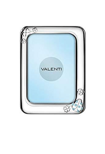 Valenti 72005/3C fotolijst voor kinderen, lichtblauw, zilverkleurig, gelamineerd, lieveheersbeestje, afmetingen 13 x 17 cm, doopcadeau