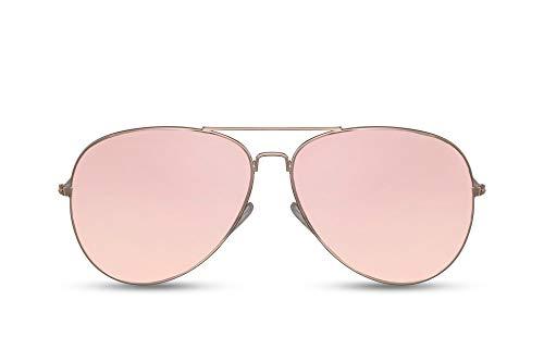 Cheapass Sonnenbrille Verspiegelt Rosé-Gold Piloten-Brille Flieger-Brille Real-Revo Linsen UV-400 Metall Damen Frauen