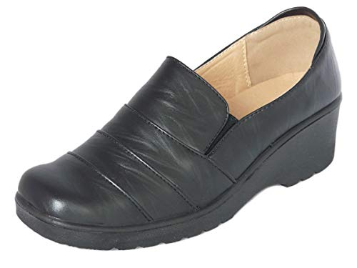 Cushion Walk Women's Ladies Lightweight Black Faux Leather Slip-on Low Wedge Shoes, Flats, Casual Work Office Comfort Shoes - Mat Black or Patent Black (7 UK, Black Mat)