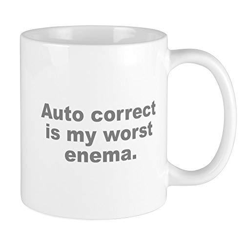 CafePress Auto Correct Is My Worst Enema Mug Unique Coffee Mug, Coffee Cup
